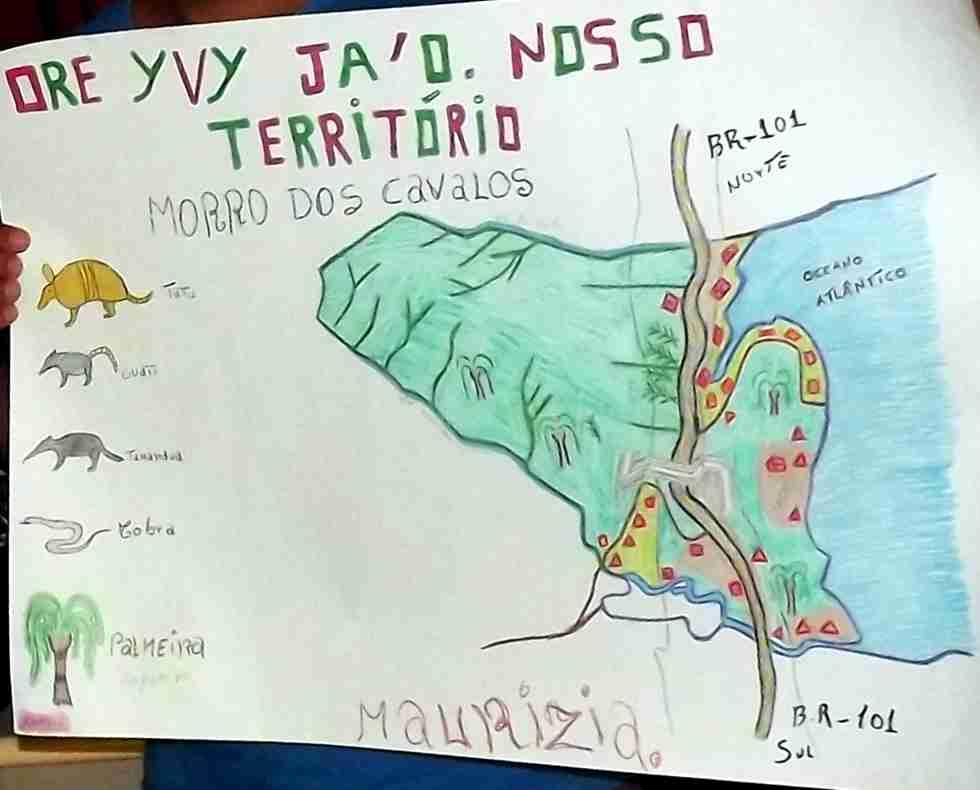Desenho feito pelas crianças da escola indígena representando seu território